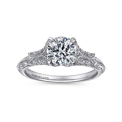Elizabeth 18k White Gold Round Straight Engagement Ring angle 5