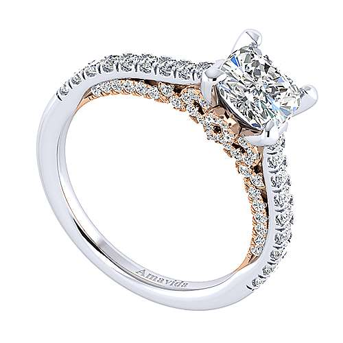 Ella 18k White And Rose Gold Cushion Cut Straight Engagement Ring angle 3