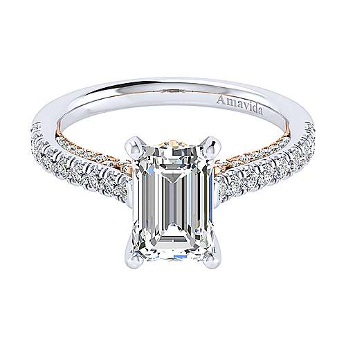 Gabriel - Ella 18k White And Rose Gold Emerald Cut Straight Engagement Ring