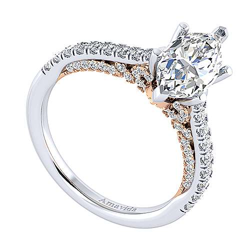 Ella 18k White And Rose Gold Marquise  Straight Engagement Ring angle 3