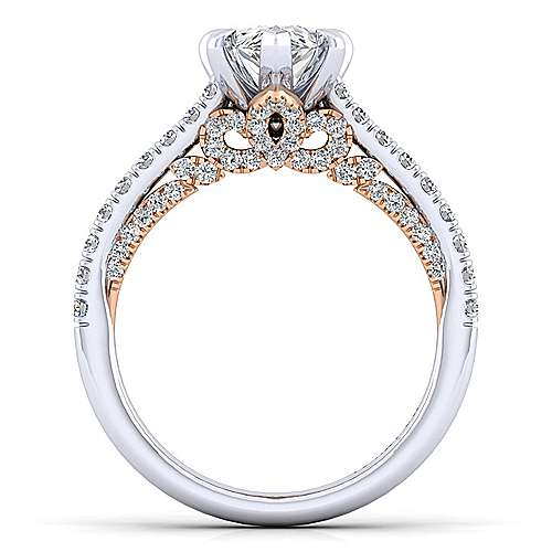 Ella 18k White And Rose Gold Pear Shape Straight Engagement Ring angle 2