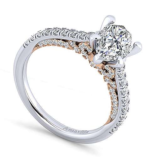 Ella 18k White And Rose Gold Pear Shape Straight Engagement Ring angle 3