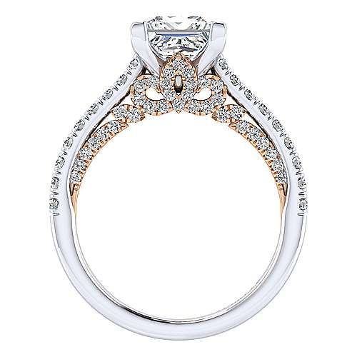Ella 18k White And Rose Gold Princess Cut Straight Engagement Ring angle 2