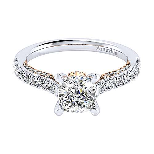 Gabriel - Ella 18k White/pink Gold Cushion Cut Straight Engagement Ring