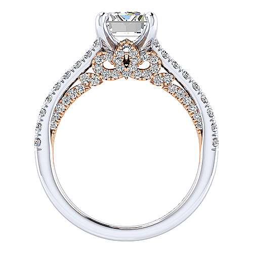 Ella 18k White/pink Gold Emerald Cut Straight Engagement Ring angle 2