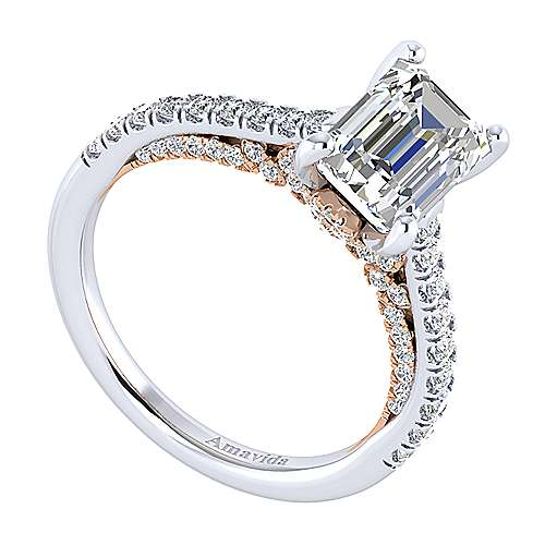 Ella 18k White/pink Gold Emerald Cut Straight Engagement Ring angle 3