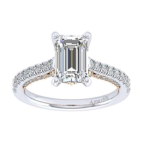 Ella 18k White/pink Gold Emerald Cut Straight Engagement Ring angle 5