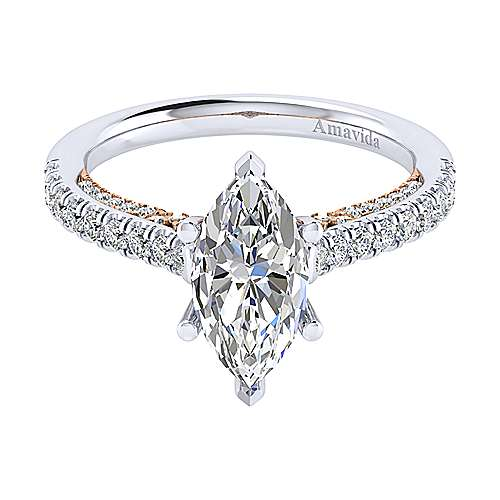 Gabriel - Ella 18k White/pink Gold Marquise  Straight Engagement Ring