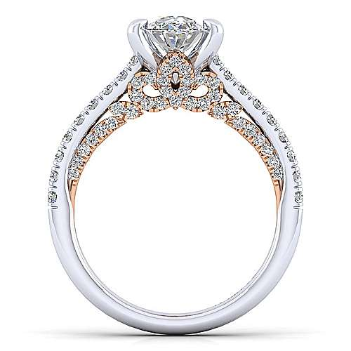 Ella 18k White/pink Gold Oval Straight Engagement Ring angle 2