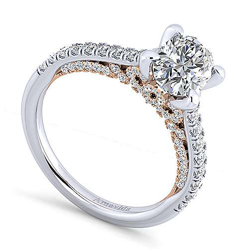 Ella 18k White/pink Gold Oval Straight Engagement Ring angle 3