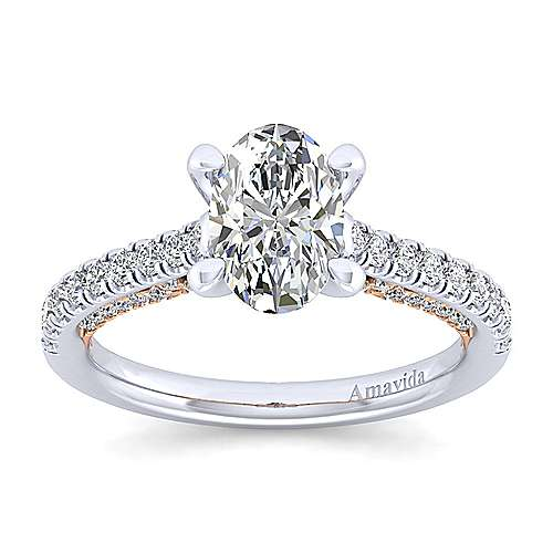 Ella 18k White/pink Gold Oval Straight Engagement Ring angle 5
