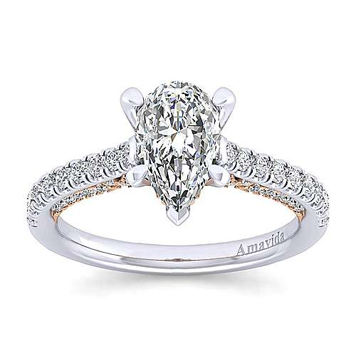 Ella 18k White/pink Gold Pear Shape Straight Engagement Ring angle 5