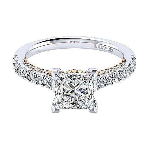 Gabriel - Ella 18k White/pink Gold Princess Cut Straight Engagement Ring