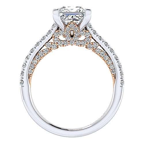 Ella 18k White/pink Gold Princess Cut Straight Engagement Ring angle 2