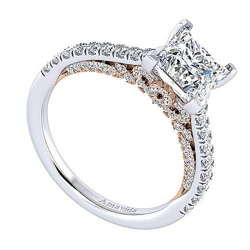 Ella 18k White/pink Gold Princess Cut Straight Engagement Ring angle 3