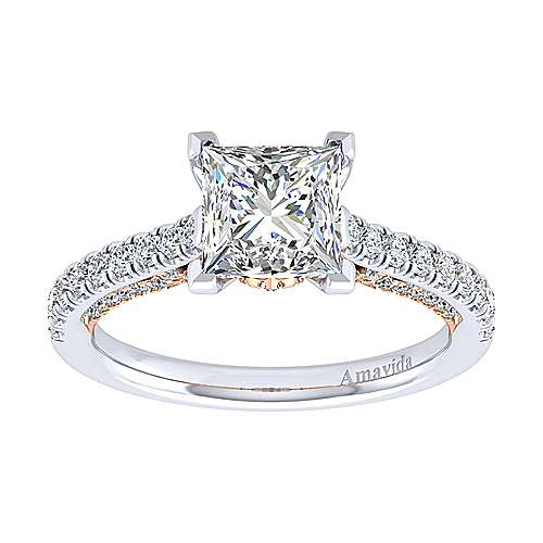 Ella 18k White/pink Gold Princess Cut Straight Engagement Ring angle 5