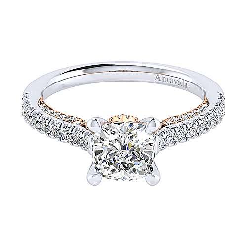 Gabriel - Ella 18k White/rose Gold Cushion Cut Straight Engagement Ring