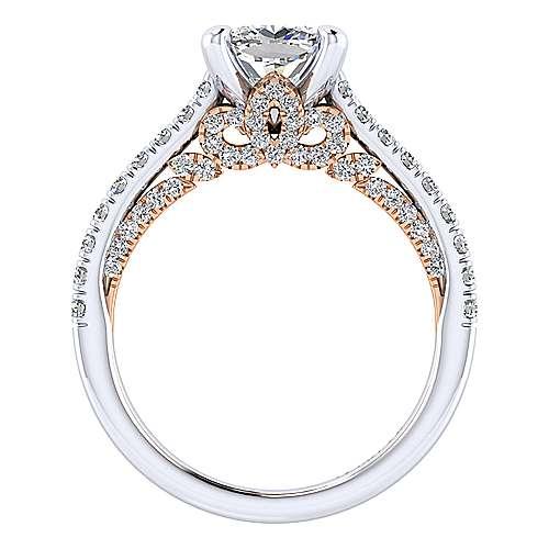 Ella 18k White/rose Gold Cushion Cut Straight Engagement Ring angle 2