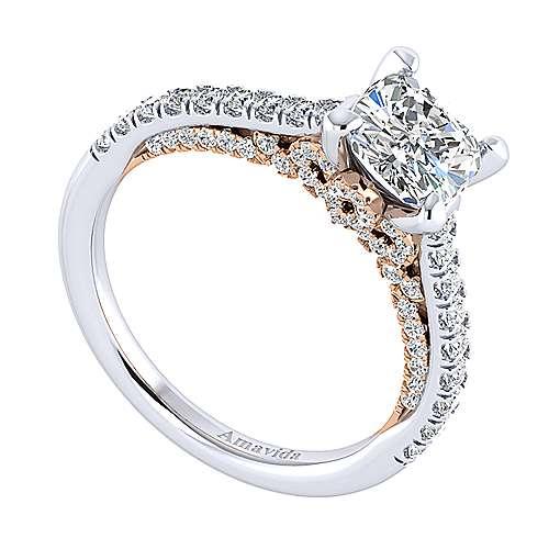 Ella 18k White/rose Gold Cushion Cut Straight Engagement Ring angle 3