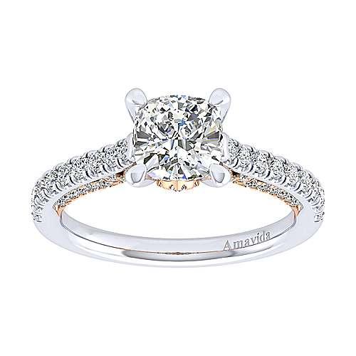Ella 18k White/rose Gold Cushion Cut Straight Engagement Ring angle 5