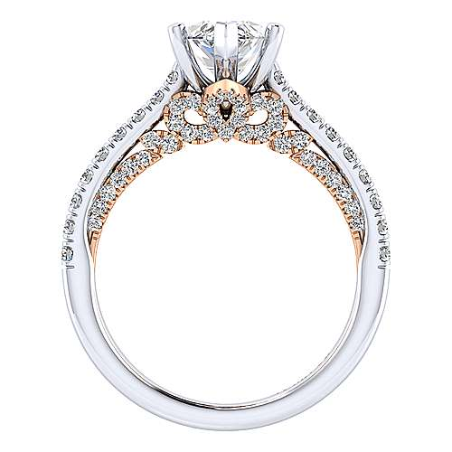 Ella 18k White/rose Gold Marquise  Straight Engagement Ring angle 2