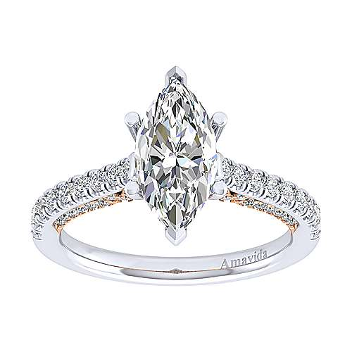 Ella 18k White/rose Gold Marquise  Straight Engagement Ring angle 5