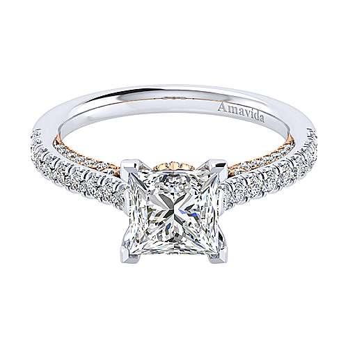 Gabriel - Ella 18k White/rose Gold Princess Cut Straight Engagement Ring