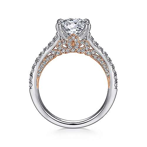 Ella 18k White/rose Gold Round Straight Engagement Ring angle 2