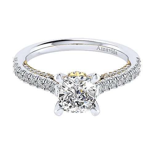 Ella 18k Yellow And White Gold Cushion Cut Straight Engagement Ring angle 1