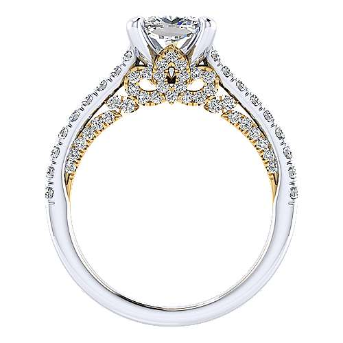 Ella 18k Yellow And White Gold Cushion Cut Straight Engagement Ring angle 2