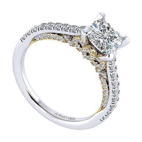 Ella 18k Yellow And White Gold Cushion Cut Straight Engagement Ring angle 3