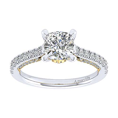Ella 18k Yellow And White Gold Cushion Cut Straight Engagement Ring angle 5