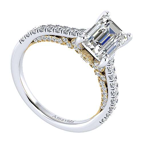 Ella 18k Yellow And White Gold Emerald Cut Straight Engagement Ring angle 3