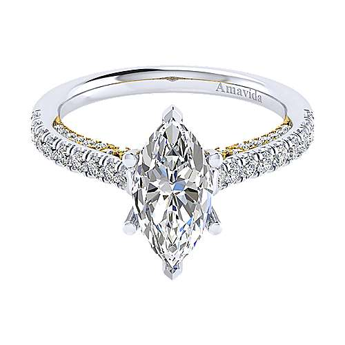 Ella 18k Yellow And White Gold Marquise  Straight Engagement Ring angle 1
