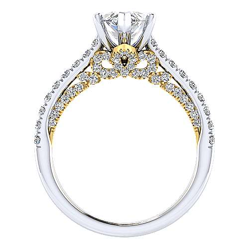 Ella 18k Yellow And White Gold Marquise  Straight Engagement Ring angle 2