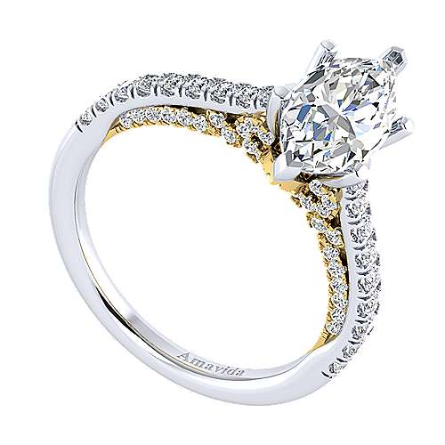 Ella 18k Yellow And White Gold Marquise  Straight Engagement Ring angle 3