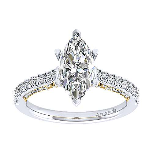 Ella 18k Yellow And White Gold Marquise  Straight Engagement Ring angle 5