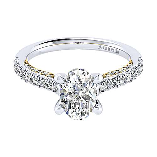 Ella 18k Yellow And White Gold Oval Straight Engagement Ring angle 1