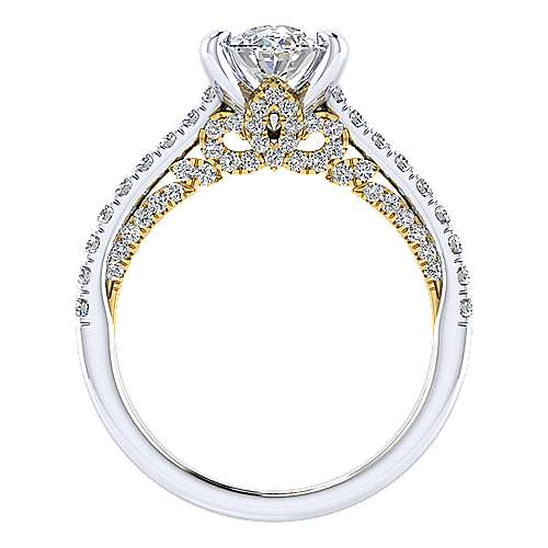 Ella 18k Yellow And White Gold Oval Straight Engagement Ring angle 2