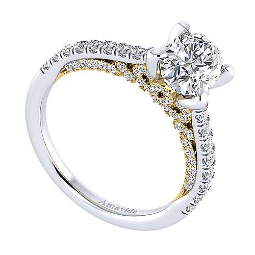 Ella 18k Yellow And White Gold Oval Straight Engagement Ring angle 3