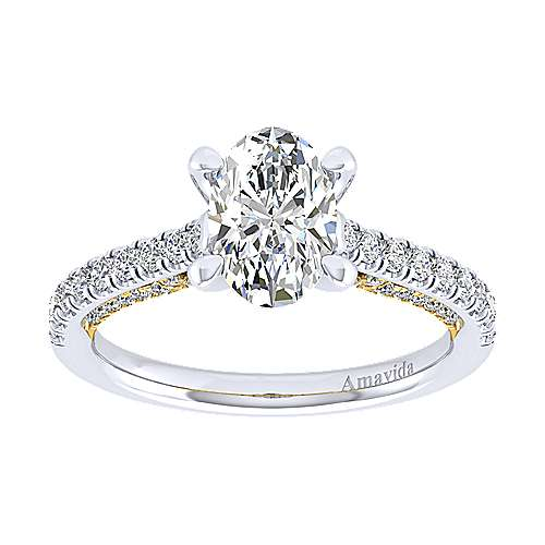 Ella 18k Yellow And White Gold Oval Straight Engagement Ring angle 5