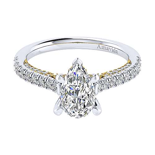 Ella 18k Yellow And White Gold Pear Shape Straight Engagement Ring angle 1