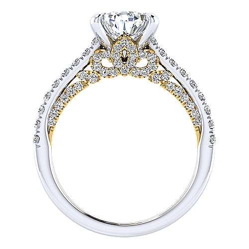 Ella 18k Yellow And White Gold Pear Shape Straight Engagement Ring angle 2