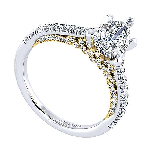 Ella 18k Yellow And White Gold Pear Shape Straight Engagement Ring angle 3