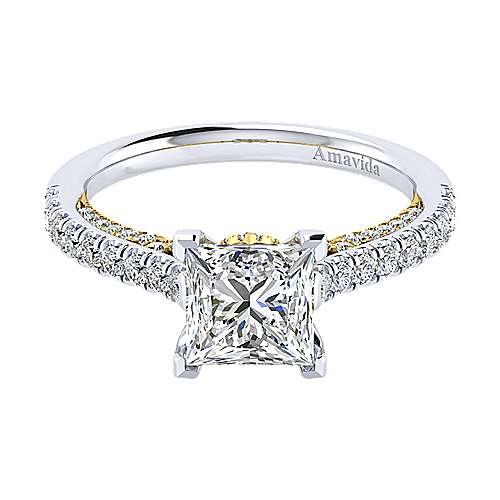 Ella 18k Yellow And White Gold Princess Cut Straight Engagement Ring angle 1