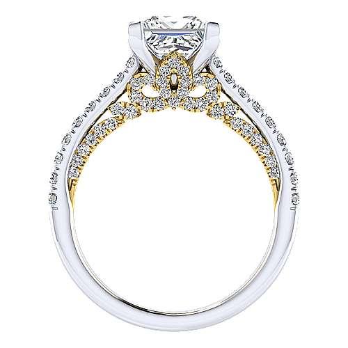 Ella 18k Yellow And White Gold Princess Cut Straight Engagement Ring angle 2