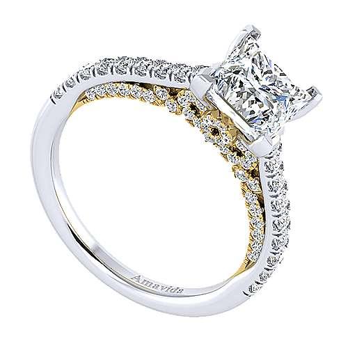 Ella 18k Yellow And White Gold Princess Cut Straight Engagement Ring angle 3