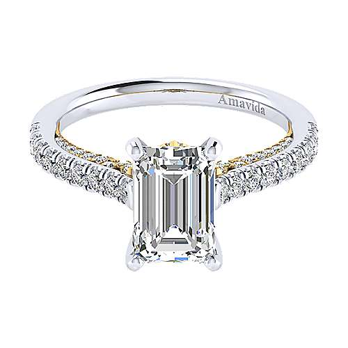 Gabriel - Ella 18k Yellow/white Gold Emerald Cut Straight Engagement Ring