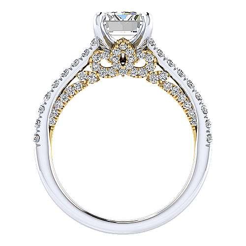 Ella 18k Yellow/white Gold Emerald Cut Straight Engagement Ring angle 2