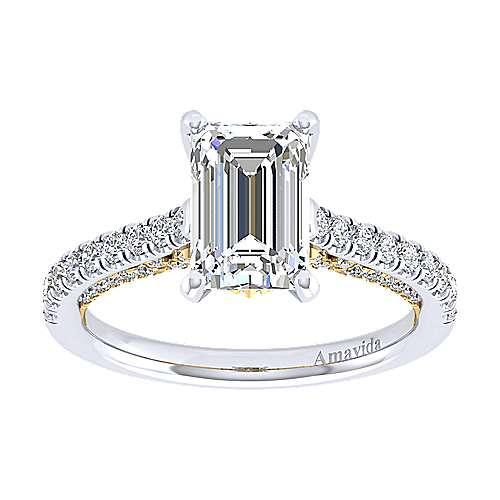 Ella 18k Yellow/white Gold Emerald Cut Straight Engagement Ring angle 5